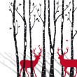 Birch trees with christmas deers, vector — ストックベクタ