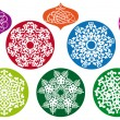 Christmas balls with snowflake pattern, vector - Stok Vektr