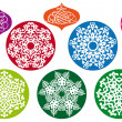 Stock Vector: Christmas balls with snowflake pattern, vector