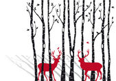 Birch trees with christmas deers, vector — Stock Vector