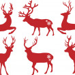 Christmas deer stags, vector set - Stok Vektr