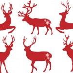 Christmas deer stags, vector set — Stock Vector
