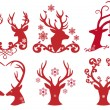 Christmas deer stag heads, vector - Stok Vektr