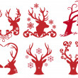 Christmas deer stag heads, vector — Vector de stock #13946381
