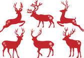 Christmas deer stags, vector set — Stock Vector