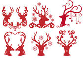 Christmas deer stag heads, vector — Stock Vector