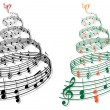 Tree with music notes, vector — Image vectorielle