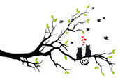 Cats in love on tree, vector — Stock Vector