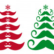 Mustache Christmas tree, vector — ストックベクタ