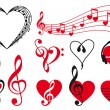 Music hearts, vector — Stock Vector