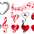 Music hearts, vector - Stockvectorbeeld