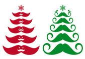 Mustache Christmas tree, vector — Stock Vector