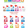 Family Christmas card, vector icon set - Imagen vectorial