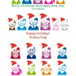 Family Christmas card, vector icon set - Grafika wektorowa