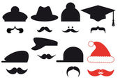 Mustache set with hats, vector — 图库矢量图片