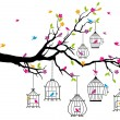 图库矢量图片: Tree with birds and birdcages, vector