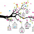 Tree with birds and birdcages, vector - Stock Vector