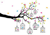 Kuşlar ve birdcages, vektör ile ağacı — Stok Vektör