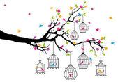 Träd med fåglar och fågelburar, vektor — Stockvektor