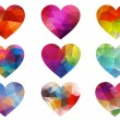 Colorful hearts with geometric pattern, vector — Vettoriali Stock