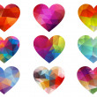 Colorful hearts with geometric pattern, vector - Stock Vector