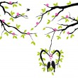 Birds on tree in heart nest, vector — Stockvectorbeeld