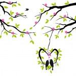 fåglar på träd i hjärtat boet, vektor — Stockvektor