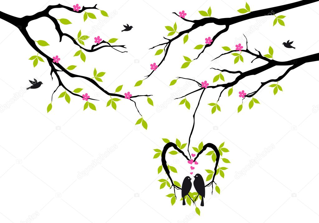 Birds sitting on tree in heart shaped nest, vector background — Vettoriali Stock  #18417737