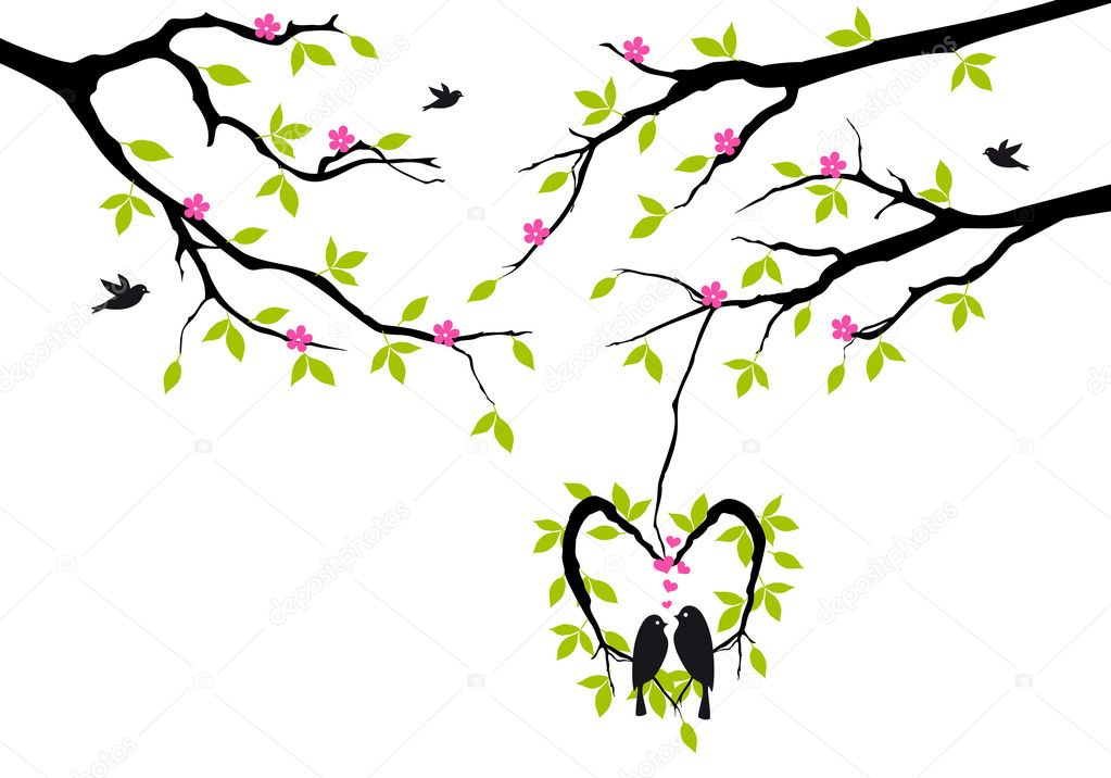 Birds sitting on tree in heart shaped nest, vector background — Stockvectorbeeld #18417737