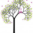 Spring tree with love birds, vector — Stock vektor