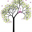 Spring tree with love birds, vector — Imagen vectorial