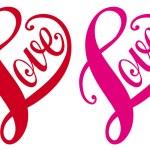 Love, red heart design, vector — Stock Vector