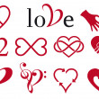 Abstract heart designs, vector set - Stockvektor