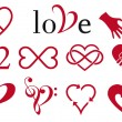 Abstract heart designs, vector set - Imagen vectorial