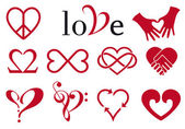 Abstrakt hjärta mönster, vektor set — Stockvektor