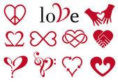 Kalp tasarımlar soyut, set vektör — Stok Vektör