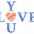 Love you with hand drawn letters, vector — 图库矢量图片