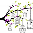 Royalty-Free Stock Vektorfiler: Tree with open birdcages, vector