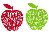 Bir elma bir gün, vektör — Stok Vektör