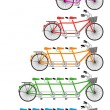 Stock Vector: Tandem bicycle set, vector