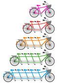 Tandem bicycle set, vector — Stock Vector