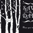 Wedding invitation with birch trees, vector  — Vektorgrafik