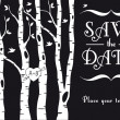 Wedding invitation with birch trees, vector - Векторная иллюстрация
