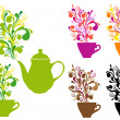 Coffee and tea with color swirls, vector set — Vektorgrafik