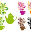 Coffee and tea with color swirls, vector set — Imagen vectorial