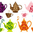 Tea pots and cups with baroque pattern, vector — Stock Vector