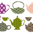 Tea pots and cups with asian pattern, vector — Vettoriali Stock