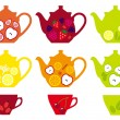 Tea pots and cups with fruits, vector — Vektorgrafik