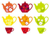 Tea pots and cups with fruits, vector — Stock Vector