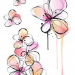 Abstract watercolor flowers, vector - Stock Vector
